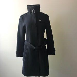 Burberry Brit Black Wool Military Style Pea Coat